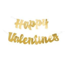 Happy Valentines Day Party Gold Script Hanging Banner Decoration 3.74Ft