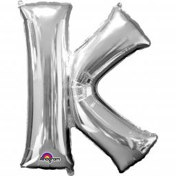 "Letter K Supershape Silver Foil Balloon 34""/""86cm"