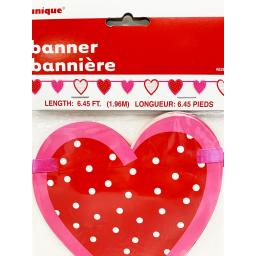 Valentines Banner Bunting Red Love Heart