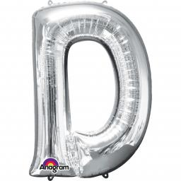 "Letter D Supershape Silver Foil Balloon 34""/""86cm"