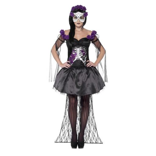 DAY OF THE DEAD SENORITA COSTUME,WITH PRINTED TOP-LARGE