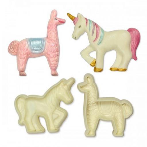 Jem Pop It Mould Exotic Animal Set of 2/Unicorn & Llama