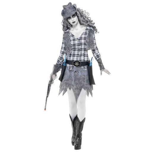 Ghost Town Cowgirl Costume, Grey, with Hat, Waistcoat - Small