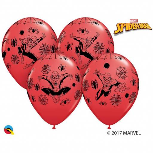 "6  Marvel Spider-Man Printed Helium Quality Latex Balloon- 12"" Round"