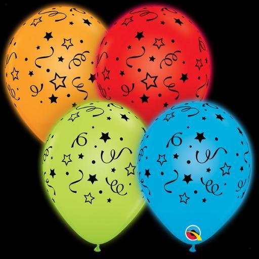 "4 Q-Lite Stars, Dots & Confetti Printed Helium Quality Latex Balloons -10"" Round"