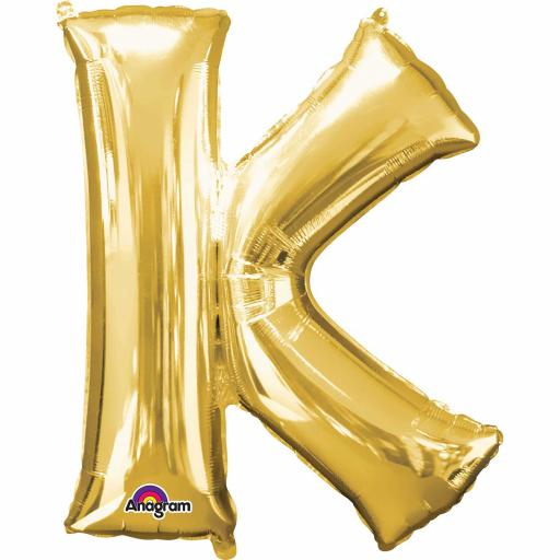 "Letter K Supershape Gold Foil Balloon 34""/""86cm"