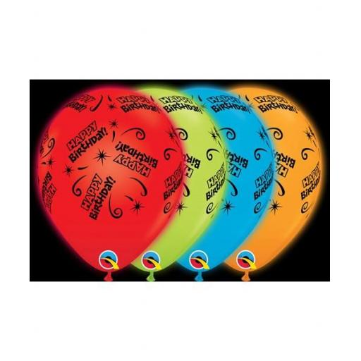 Q-Lite Light up Latex Balloons - Multi Coloured Happy Birthday Pk 4