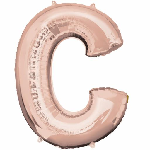 Letter C Rose Gold SuperShape Foil Balloons 25/63cm w x 32/81cm