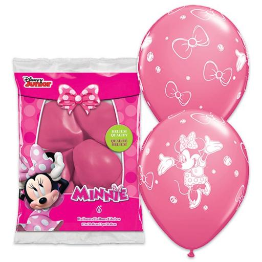 "6  Minnie-Mouse Printed Helium Quality Latex Balloon- 12"" Round"