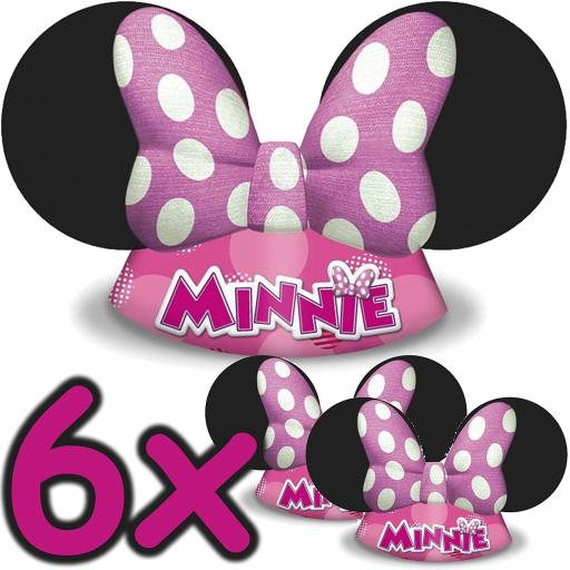 6 Disney Minnie-Mouse Party Hats Card
