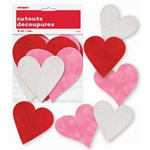 Assorted Heart Cutouts 6ct
