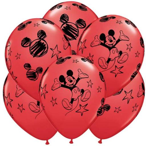 "6 Mickey-Mouse Printed Helium Quality Latex Balloon- 12"" Round"