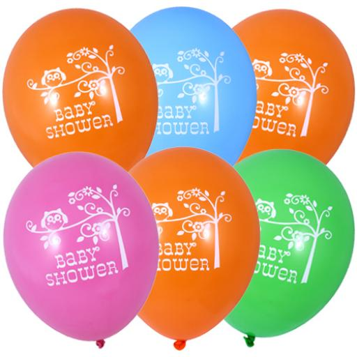 6 Happi Tree Baby Shower Helium Quality Latex Balloons 2 Sided Print-12""