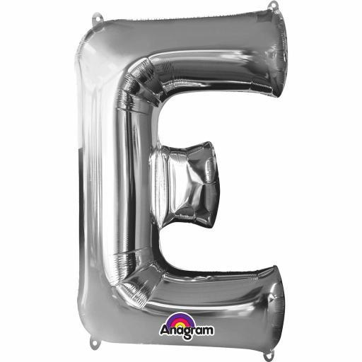 "Letter E Supershape Silver Foil Balloon 34""/""86cm"