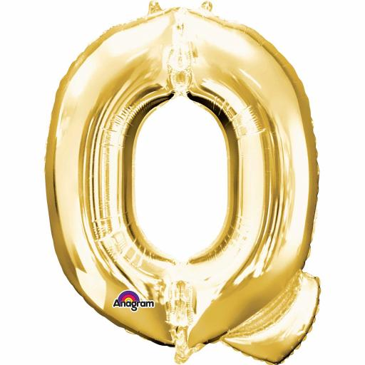 "Letter Q Supershape Gold Foil Balloon 34""/""86cm"