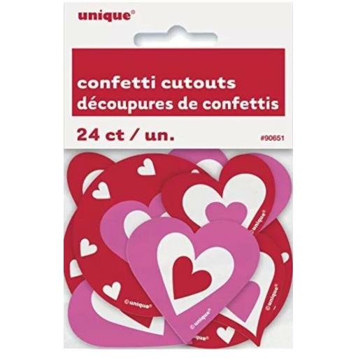 24 HEART CONFETTI CUTOUTS PARTY TABLE DECORATION VALENTINES ENGAGEMENT BIRTHDAY