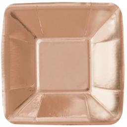 Rose Gold Shiny Metallic Small Square Appetiser Plates - 8pcs