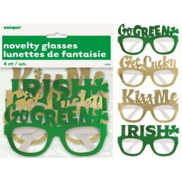 4 St Patrick's Day Foil Party Glasses