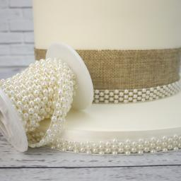Ivory Pearl Band With 5 Rows -12mm x 1m