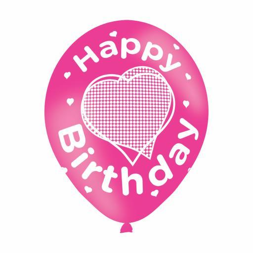 "6 Happy Birthday Pink Latex Balloons 11"""