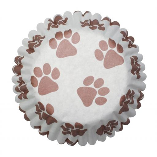 45mm Pawprints Baking Cases - 54 per pack