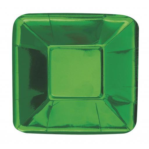 8 Metallic Green Foil Small Square Paper Plates