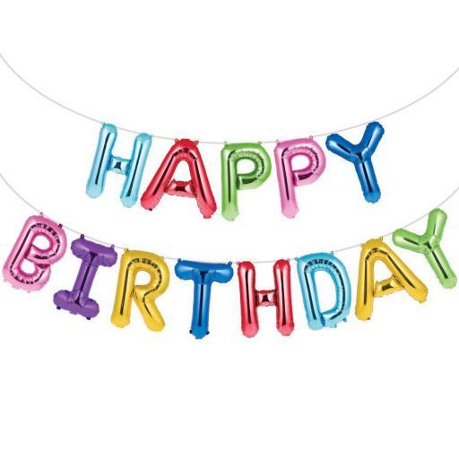 Air Fill Happy Birthday Rainbow Balloon Banner Kit