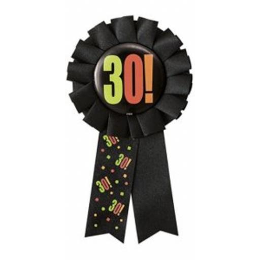 30th Birthday Party Black Rosette Award Ribbon