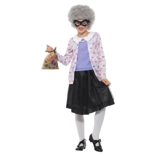 David Walliams DL Gangsta Granny Purple Black Top, Skirt, Wig, Mask, Bag, P Necklace & Glasses -Small