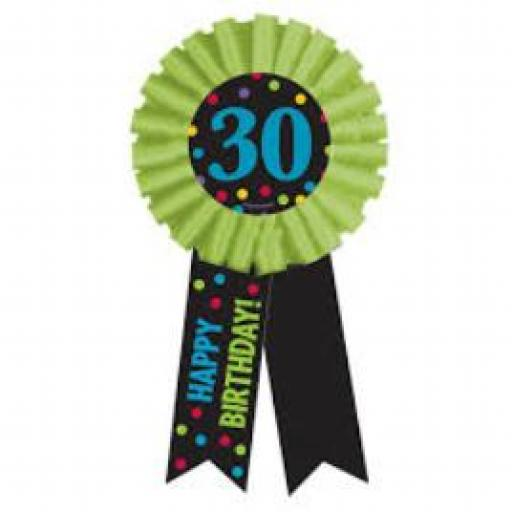 30th Birthday Party Lime Rosette Award Ribbon