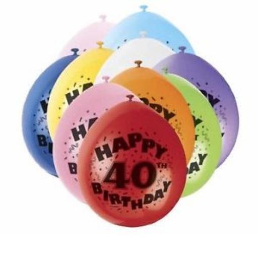 "10 Happy 40th Birthday 9"" Balloons"