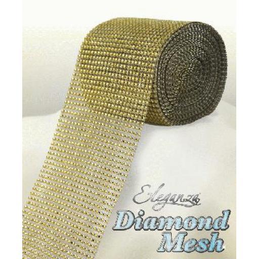 Eleganza Gold Diamond Sparkling Mesh 12cm x 1m