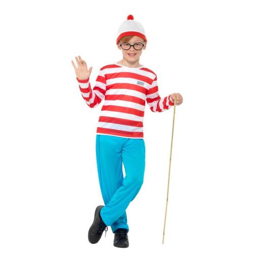 Where's Wally Costume with Top,Trousers,Glasses & Hat - Large