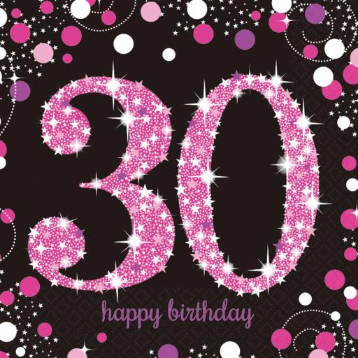 Pink Sparkling Celebration 30th Birthday Luncheon Napkins 33cm