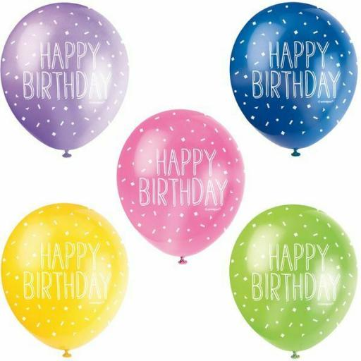 """5 Assorted Pearlised Colour Happy Birthday 12"""" Latex Balloons"""
