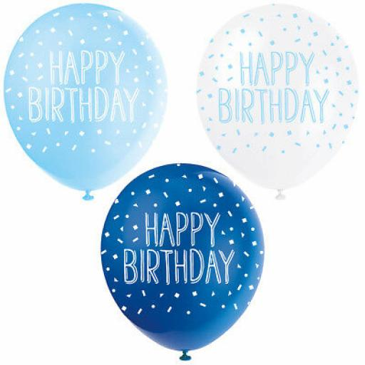 """5 Assorted Pearlised Blue & White Colour Happy Birthday 12"""" Latex Balloons"""
