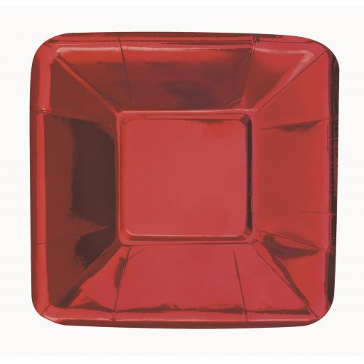 Red Shiny Metallic Small Square Appetiser Plates - 8pcs