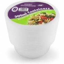300ml Round Food Containers & Lids 8pcs