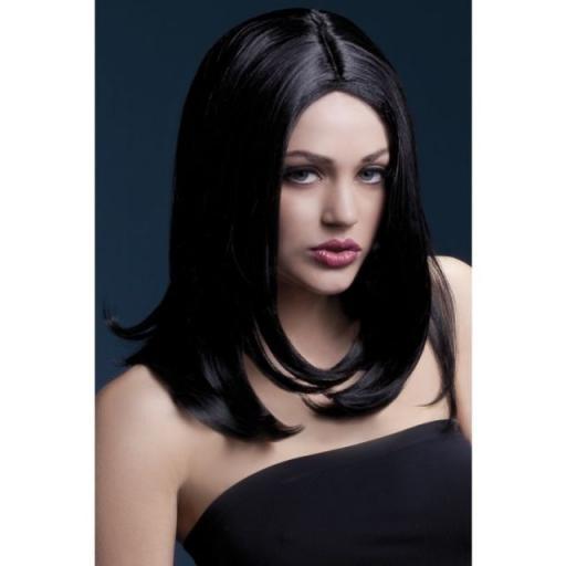 Smiffys Fever Long Layered Black Sophia Wig