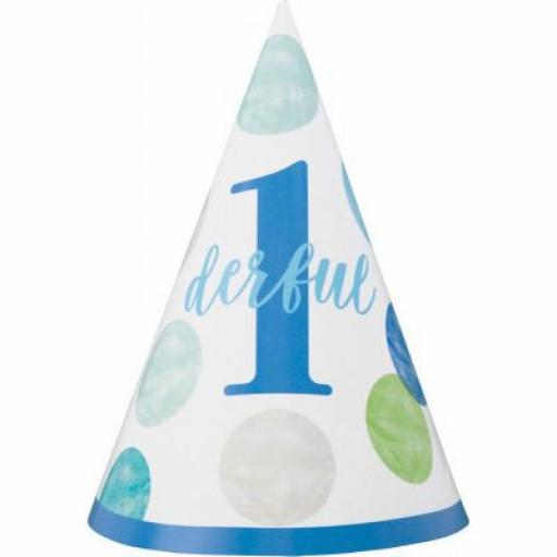 Green & Blue Dots 1st Birthday Baby Party Hat