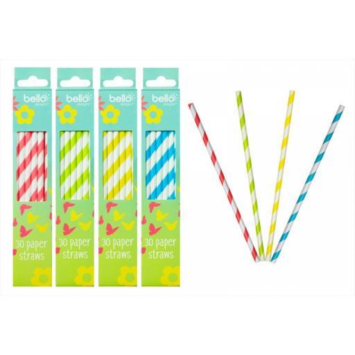 Yellow& White Paper Drinking Straws 30pcs
