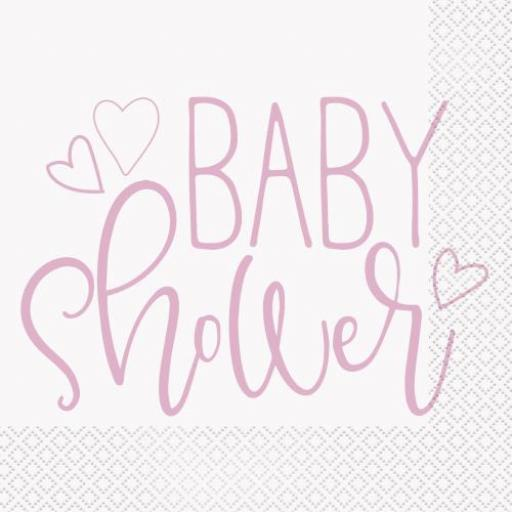 16 Pack -Pink Hearts Baby Shower Napkins 33x33cm/2ply