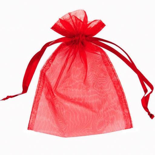 10 Red Medium Organza Pouch