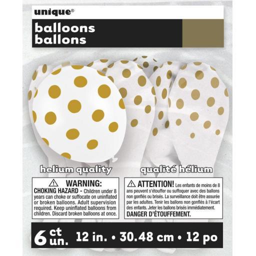 6 Gold Polka Dot Balloons