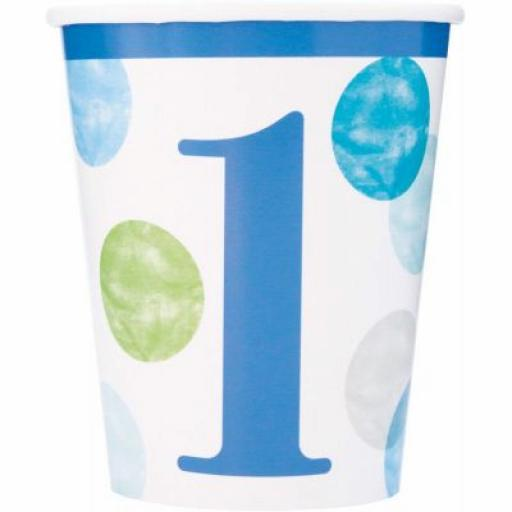 8 Green & Blue Dots 1st Birthday Cups 270ml