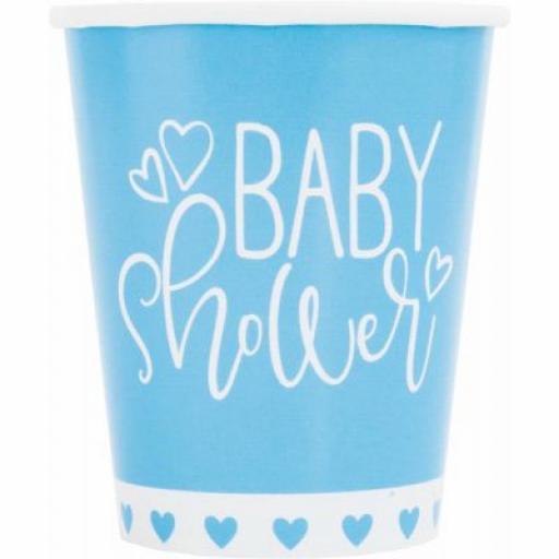 Blue Baby Shower Paper Cups 8pcs