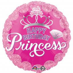 Princess Crown & Gem Happy Birthday Standard Foil Balloons