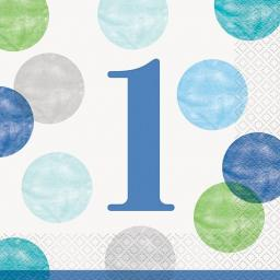 Blue Dots First Birthday Luncheon Napkins - Pack of 16