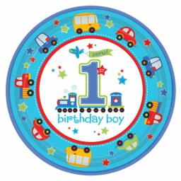 All Aboard Birthday Paper Plates 23cm