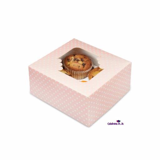 Pink Spot 4/ Muffin Cupcake Box x 2